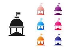 Black White House Icon Isolated On White Background. Washington DC. Set Icons Colorful. Vector.
