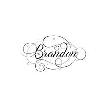 "English Calligraphy ""Brandon"" Name, A Unique Hand Drawn Vector Design For Wedding And More."