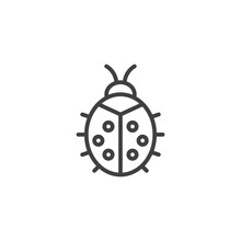 Ladybug Line Icon. Linear Style Sign For Mobile Concept And Web Design. Ladybird Outline Vector Icon. Symbol, Logo Illustration. Vector Graphics