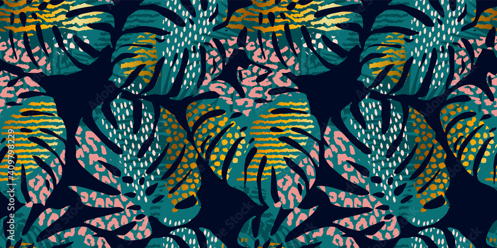 Fototapeta Seamless exotic pattern with tropical leaves, animal prints and hand drawn textures. Vector illustration.