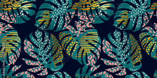 Obraz Seamless exotic pattern with tropical leaves, animal prints and hand drawn textures. Vector illustration. - fototapety do salonu
