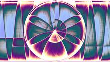 Rendu D'un Travail Numérique Représentant La Naissance D'une Rose Géométrique Abstraite Aux Subtils Dégradés De Couleurs.