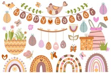 Cute Vector Set Of Happy Easter. Illustrations In Style Of Boho, Cartoon, Flat. For Design Of Holiday Cards, Invitations, Banners, Stickers, Posters. Rainbow, Butterfly, Flowers, Eggs, Chicken, Rabbit