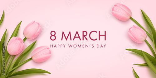 Obraz Women's day banner. 8 march holiday background with realistic tulips. Vector illustration for poster, brochures, booklets, promotional materials, website - fototapety do salonu