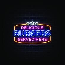 Delicious Burger Neon Signs Style Text Vector