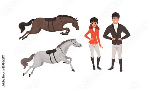 Obraz na plátně Equestrian Sport Set, Man and Woman Professional Jockeys and Horses Cartoon Styl