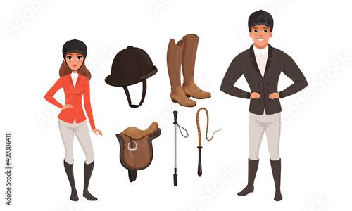 Fotografie, Obraz Equestrian Sport Set, Man and Woman Professional Jockeys and Sports Equipment Ca
