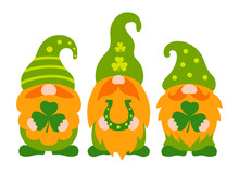 St Patrick Day Gnomes Holding Shamrock. Cute Three Dwarf With Red Beards And Green Hats. Vector Illustration With Characters For St Patrick's Day. Irish Gnomes In Cartoon Style. Holiday Greeting Card