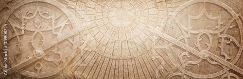 Fototapeta Ancient astronomical instruments on vintage paper background