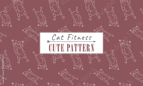 Funny vector pattern with cat fitness. White purple background. Cute thick linear cats. Seamless print for children's clothes, textiles, notebooks. Stylish wallpaper in the baby's bedroom.