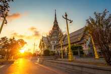 Thai Temple, So Thon Wara Ram Worawihan Temple Chachoengsao At Sunset In Thailand