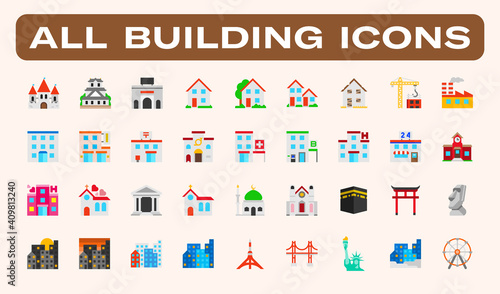 Fototapeta All type of Buildings, Architecture Examples Vector Illustration Icons Set. Residential Buildings, Skyscrapers, Famous Landmarks, Mosque, Church, School, Hospital, Urban Isolated Symbols Collection obraz