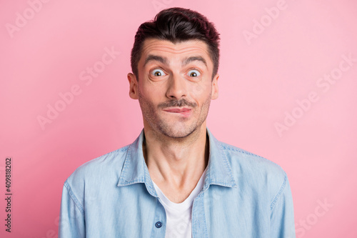 Fototapeta Photo of excited happy young attractive man amazed wish anticipation isolated on pastel pink color background obraz na płótnie