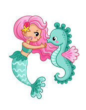 Mermaid And Seahorse On A White Background. Vector Illustration