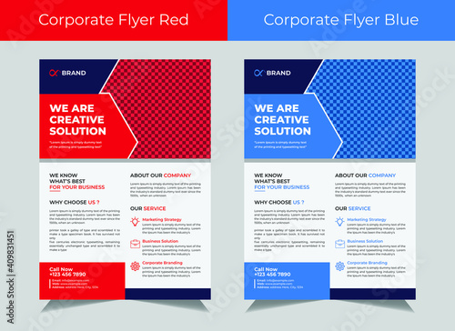 Obraz Corporate flyer template vector design, cover modern layout, corporate banners, IT Company flyer, Business Flyer set - fototapety do salonu