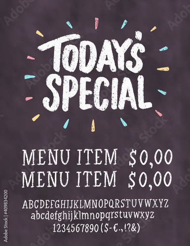 Fotografia Today's special. Chalkboard menu. Vector handwritten lettering.