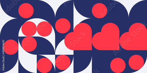 Tablou Canvas Romantic vector abstract  geometric background with hearts, circles, rectangles and squares  in retro scandinavian style