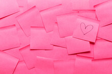 Sticky Note Post It In Pink Color As Background