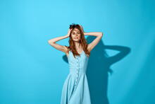 Pretty Woman Blue Dress Glamor Attractive Look What To Do Studio
