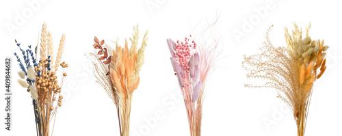 Fotografiet Set with beautiful decorative dry flowers on white background, banner design