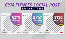 Fitness Gym Social Media Post For Workout Clubs & Studio Free Trails, Offer Templates. Modern Geometric Sports Shop & Yoga Instagram And Facebook Promo Square Posts & Banner Fresh Layout Vector Sets.