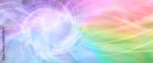 Billede på lærred Rainbow Spiraling Vortex Background Banner - beautiful ethereal radiating gaseou