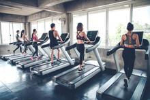 People Jogging On Treadmills.