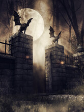Dark Scene With An Old Gothic Gate With Lanterns And Stone Gargoyles At Night. 3D Render.