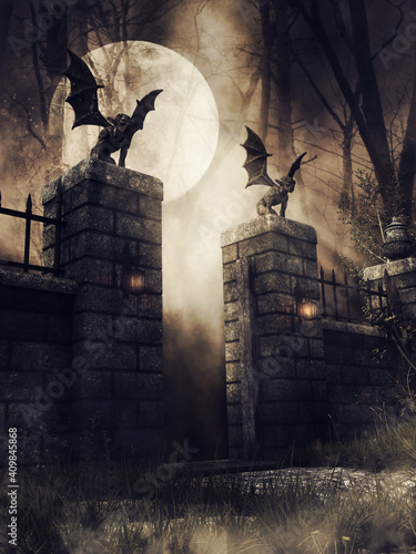 Tablou Canvas Dark scene with an old gothic gate with lanterns and stone gargoyles at night