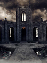 The Courtyard Of An Old Gothic Cloister On A Stormy Day, With Dark Clouds And Grey Sky. 3D Render.