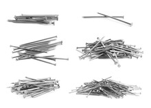 Set With Sharp Metal Nails On White Background