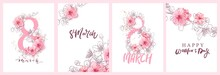 8 March Illustration. Women's Day Greeting Card Design With Cherry Blossoms. Branch Of Sakura With Petals.