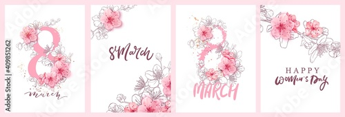 Obraz 8 march illustration. Women's Day greeting card design with cherry blossoms. Branch of sakura with petals. - fototapety do salonu