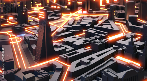 3D Render abstract modern city with neon street lines representing transport, network connections. Business, technology, modern life concept illustration