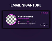 Modern Email Signature Template With Neon Effect For Business Banner And Professional Creative Email Signature Layout Illustration For An Individual Where The Author Place Photo Logo In Pink Color