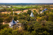 Top View From Flying Drone Over Wat Phra Phut Tha Bat,temple And Pagoda  In Mahashanachai Town, Yasothon  Province,Thailand,ASIA.