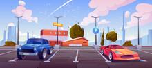 Car Parking On City Street, Luxury Automobiles