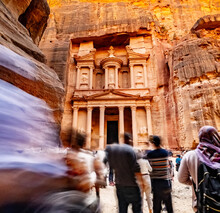 Large Interesting Tourist Complex Of The Ancient City Of Petra With Tourists