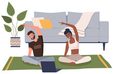 Home Workout. Young Couple Doing Yoga At Home. Sports Exercises And Stretching, Pair Yoga Vector Concept. A Man And A Woman Train With A Video Lesson With A Laptop Sitting On The Floor At Home