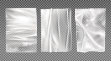 White Wet Paper, Bad Glued Wheatpaste Set Isolated