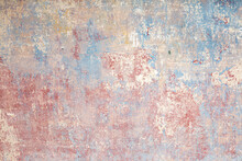 Background Of Old Wall With Removed Tapestry Gives A Look In Paint Of Different Ages