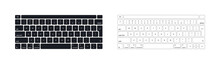 Keyboard Of Computer, Laptop. Modern Key Buttons For Pc. Black, White Keyboard Isolated On White Background. Icon Of Control, Enter, Qwerty, Alphabet, Numbers, Shift, Escape. Realistic Mockup. Vector