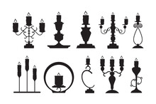 Candlestick Silhouettes. Black Shapes Of Candelabrum With Burning Flame Vector Candle Holders Set. Candlestick And Candle Holder Illustration