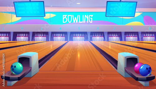 Obraz na plátne Bowling alleys with balls, pins and scoreboards.