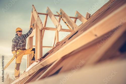 Fotografie, Obraz New Wooden House Construction Worker