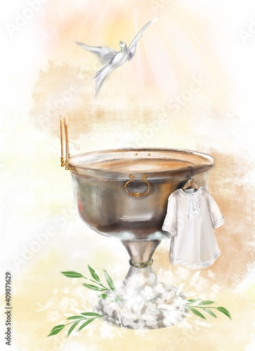 Slika na platnu illustration a metal font in a church for the baptism of children and a white baptismal shirt