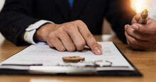 Check And Read Contract Thoroughly Before Signing, Close Up Hand Of Businessman Reading And Checking Business Document And Sign On Paper