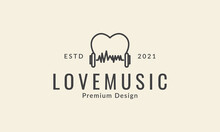 Heart Or Love Line With Headphone Music  Logo Symbol Icon Vector Graphic Design Illustration