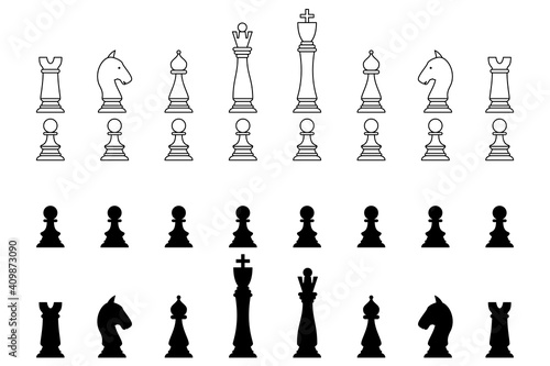 Cuadros en Lienzo Chess pieces in outline and silhouette style