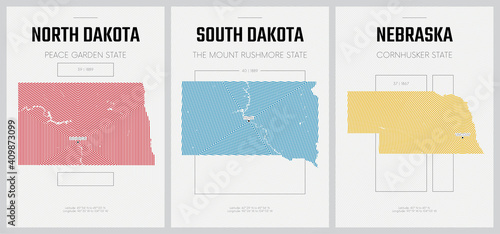 Canvas Print Vector posters detailed silhouettes maps of the states of America with abstract